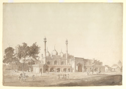 Mosque of Nawab Bahadur Javed Khan built by order of Nawab Qudsia Begum outside the Delhi Gate of the Red Fort, Delhi.  23 February 1789.